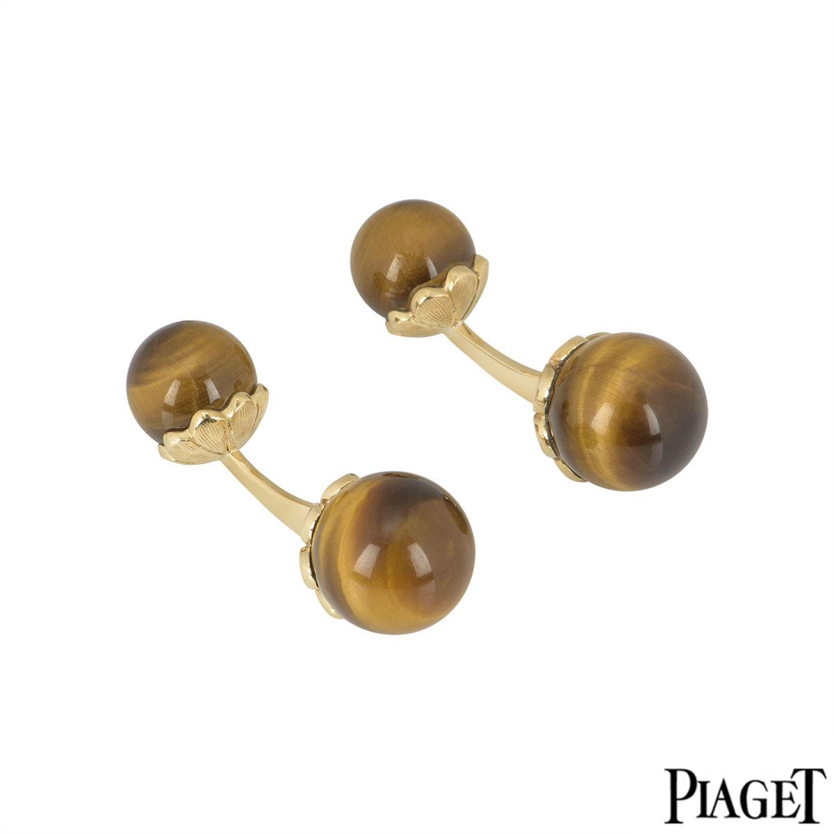 Piaget Yellow Gold Tiger Eye Cufflinks